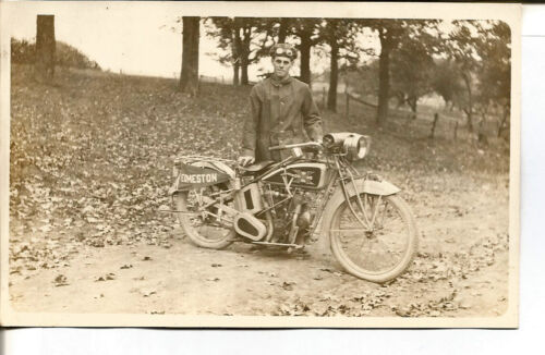 C.1915 EXCELSIOR MOTORCYCLE REAL PHOTO POST CARD - UNUSED - RARE