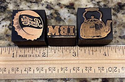 3 Vintage Wood Metal Print Block Ink Stamp Pepsi Cola Ibm Tea Kettle