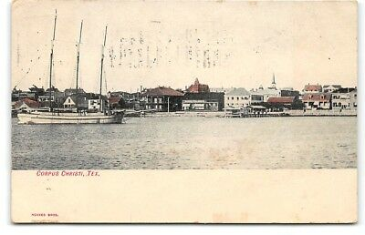 Texas-Corpus Christi-Harbor View-Boat-Waterfront-Bay-Antique Postcard
