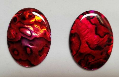 18x25mm 18x25mm Natural Paua Shell Red Calibrated Oval Cabochon Gems Jewelry