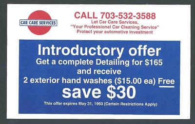 1993 Car Detailing Service W/Free Had Washes Falls Church Va