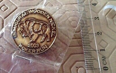 Harley-Davidson HOG Inaugural wooden Nickel Poker Run 2003 pin badge