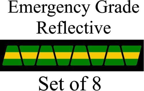 Green w/ Yellow Stripe HELMET TETS TETRAHEDRONS HELMET STICKER  EMT REFLECTIVE