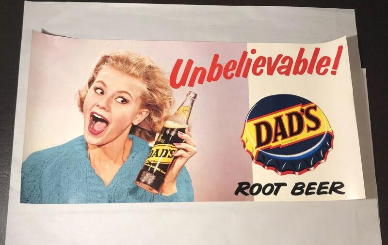 Vtg DAD's Root Beer Ad Poster- Elizabeth Montgomery- 11.5x22.5