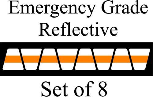 White  w/ Orange Stripe HELMET TETS TETRAHEDRONS HELMET STICKER  EMT REFLECTIVE