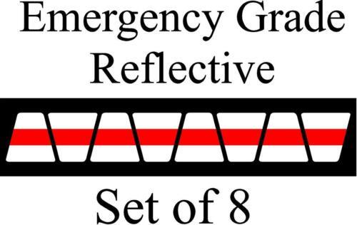 White  w/ Red Stripe HELMET TETS TETRAHEDRONS HELMET STICKER  EMT REFLECTIVE