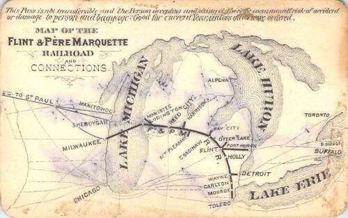 1889 FLINT PERE MARQUETTE MAP DEPOT RAILROAD RAILWAY RR RY PASS