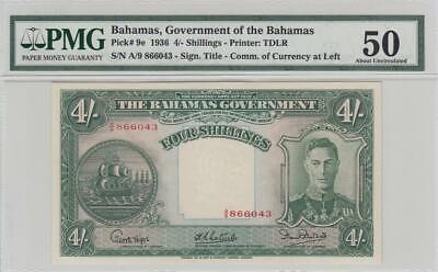 1936 BRITISH COLONY BAHAMAS KGVI 4 SHILLINGS 4/- **X-RARE** (( PMG 50 ))