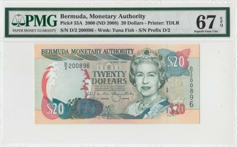 2000 BRITISH COLONY BERMUDA QEII $20 **RARE** (( PMG 67 EPQ ))