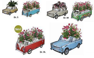 NEU Werkhaus VW Bulli od. Trabbi Blumenkasten Blumentopf Blumentrog Wasserfest