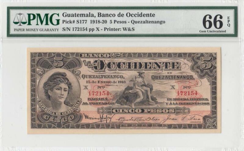 1918 BANK OF GUATEMALA 5 PESOS **X-RARE** (( PMG 66 EPQ ))