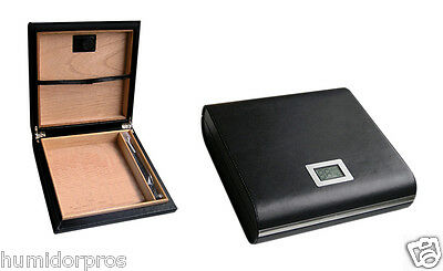 Black Finish Humidor - TRAVEL CIGAR HUMIDOR Marquis Leather FinIsh 20 ct. Black w/ Digital Hygrometer
