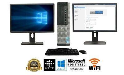 """Dell Desktop Computer 16GB 2TB 512GB SSD Wifi Core i5 Windows 10 PC 24"""" 22"""" LCD"""