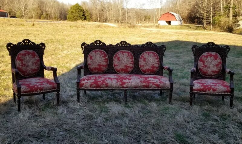 Antique Recovered Settee And Matching Chairs Victorian Jacobean Asian...
