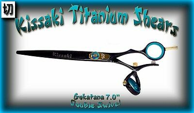 "Kissaki Hair Scissors 7.0"" Gokatana Black Blue DOUBLE SWIVEL"