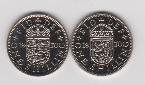 1970 Proof England (UK) 1 Shilling English Shield & Scottish Shield ~ 2 Coins
