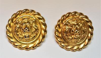 Vintage  ANNE KLEIN Goldtone Textured LION HEAD Round Shape Pierced Earrings #2
