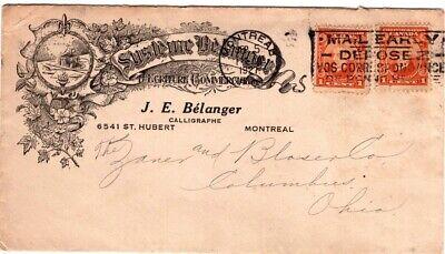 1927 Canada Cover Montreal to Columbus Ohio - Calligrapher - Pens - Paper Ad