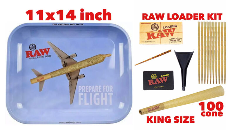 raw rolling metal tray(FLIGHT)large+raw king size cone(100 pack)+cone loader kit