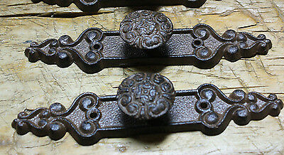 - 2 Cast Iron Antique Style Barn Handle Drawer Pull Shed Door Handles BACK PLATE