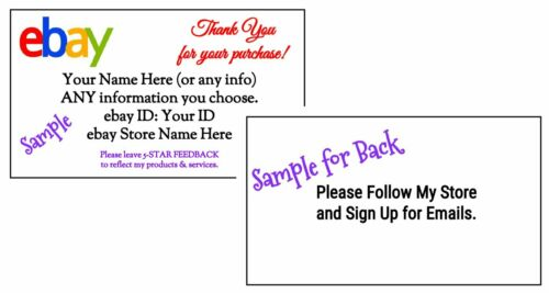 100 Custom GLOSSY 2-Side Business Cards Personalized ebay 3.5 x 2-in. White
