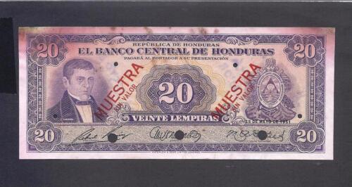 Honduras p-48 , XF, 20 Lempiras, 1951, SPECIMEN !!