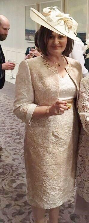 IZABELLA Ivory Gold Mother Of Bride Dress Suit UK 14 Hatinator Rrp GBP561