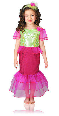 Girls Pink Mermaid Costume Magenta Green Toddler Kids Child Fancy Dress NEW (Girls Pink Mermaid Costume)