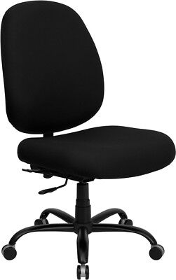 400 Lbs Capacity Big Tall Black Fabric Office Desk Chair With Extra Wide Seat