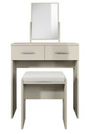 Prague Gloss Dressing Table, Stool and Mirror Set - GREY, H 80, W 75, D 40 cm (approx.)
