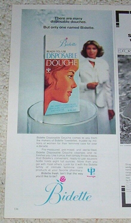 1975 advertising page - Bidette disposable Douche magazine PRINT AD