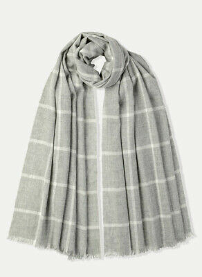 JOHNSTONS OF ELGIN 100% CASHMERE Grey Checked scarf NEW RRP£175