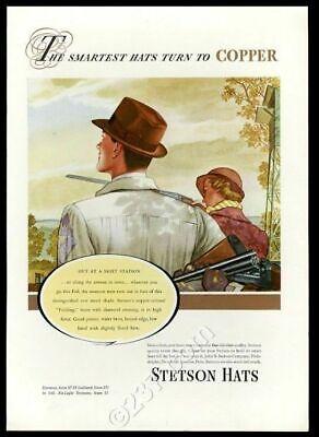 1937 John B Stetson men's fedora hat skeet shooting art vintage fashion print ad