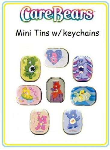 Care Bears Mini Tins w/ key chains complete set of 8  ( loose )