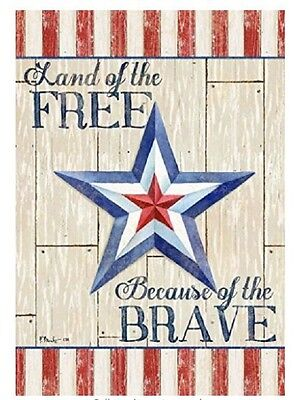 Veterans Day Flag (Land of the Free Because of the Brave Patriotic Military Garden Flag 4th of)
