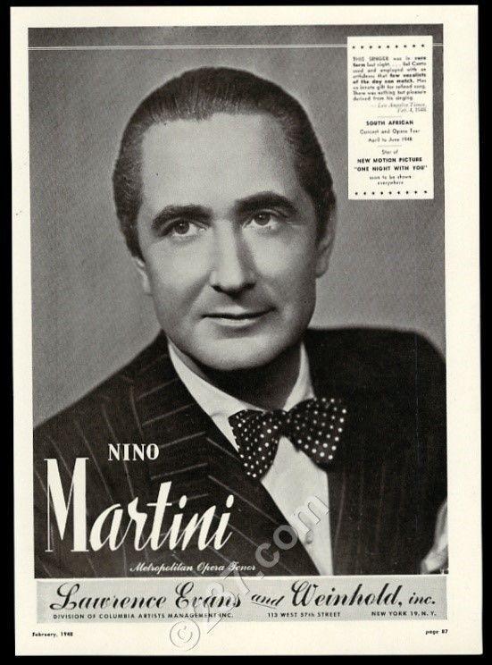 1948 Nino Martini photo Bel Canto singing recital tour booking trade print ad