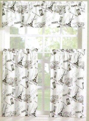 Paris Eiffel Tower Lichtenberg No.918 Curtains Tier U0026amp; Valance NWT