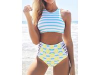 "NWT Cupshe High-Waisted ""Lemon Soda"" Reversible Bikini Size S"