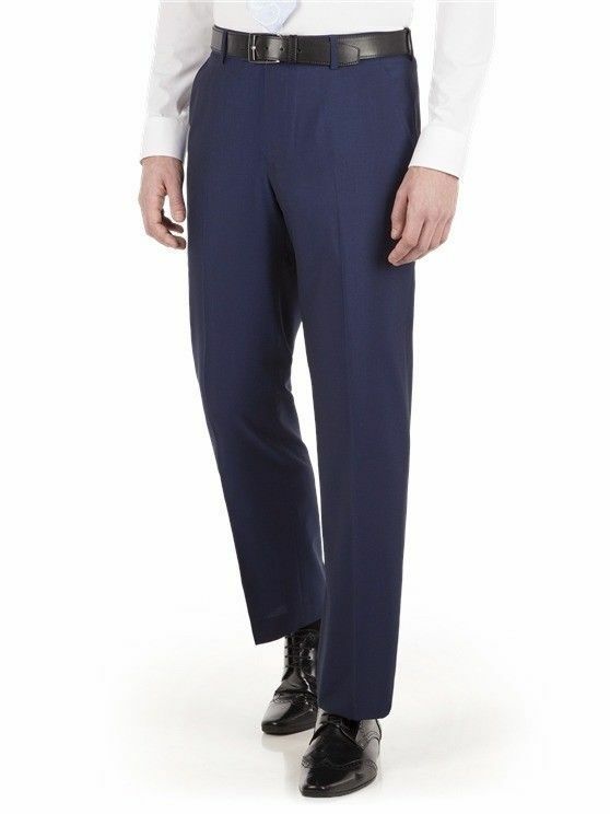Occasions by Scott & Taylor Blue Regular Fit Suit Trousers - Size 38 Long