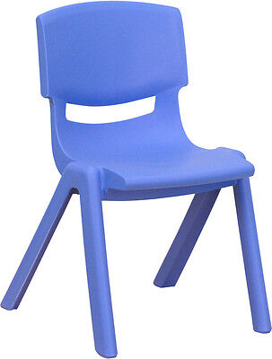 Blue Preschool Chair ((6 PACK) Blue Plastic Stackable Preschool Activity Chair with 12