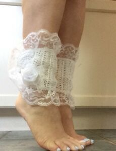 Hand crocheted Wedding Day Victorian style ankle/leg warmers