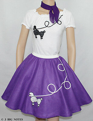 50's Poodle Outfit Skirt - 3 PC Purple 50's Poodle Skirt outfit Girl Sizes 4,5,6,7 Waist 18
