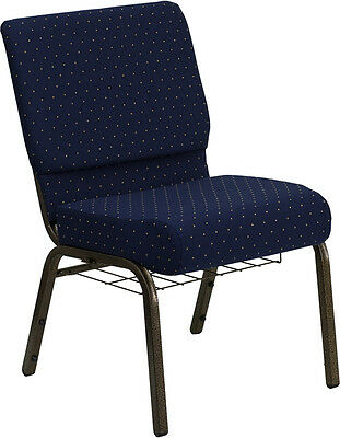 Lot Of 100 21 Wide Navy Blue Fabric Church Chair Communion Cup Book Rack