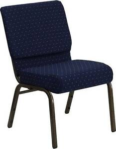 LOT OF 400 21u0027u0027 EXTRA WIDE NAVY PATTERNED STACKING CHURCH CHAIRS GOLD VEIN  FRAME