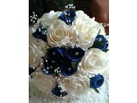 White and royal blue wedding bouquets all colours and designs