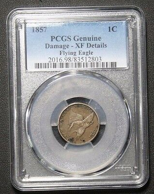 1857 FLYING EAGLE CENT PCGS XF DETAILS DAMAGE EXTRA FINE