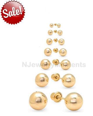 10K Yellow Gold, Ball Stud Earrings, Screw Back 3-8mm Men Women **PAIR