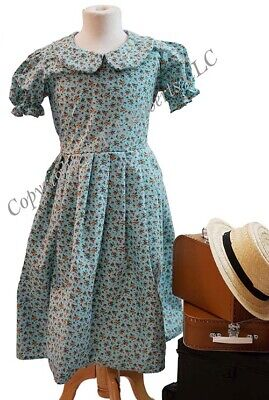School-Wartime-Narnia-Railway Children EDWARDIAN TURQUOISE FLORAL DRESS All ages - Narnia Kids Costumes