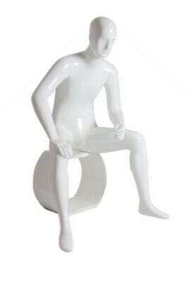 Adult Male Glossy White Fiberglass Seated Abstract Mannequin With Stool
