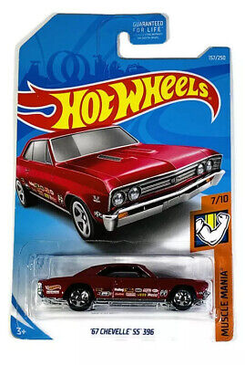 2018 Hot Wheels Muscle Mania 7/10 Red '67 Chevy Chevelle SS 396 1967
